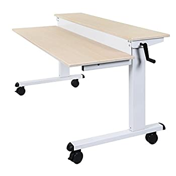 """Crank Adjustable Sit to Stand Up Desk with Heavy Duty Steel Frame (48"""", White Frame/Birch Top)"""
