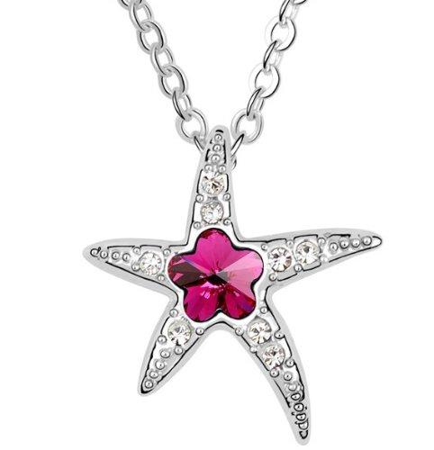 Purplelan-Austrian Crystals Rhinestones Fuchsia Sea Star Necklace Fahsion Jewlery 18Inch Necklace 206029