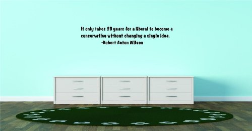 Decals & Stickers : Discounted Sale Item : It Only Takes 20 Years For A Liberal To Become A Conservative Without Changing A Single Idea. -Robert Anton Wilson Famous Inspirational Life Quote - Bedroom Living Room Office Home Decor - Size : 10 Inches X 30 I