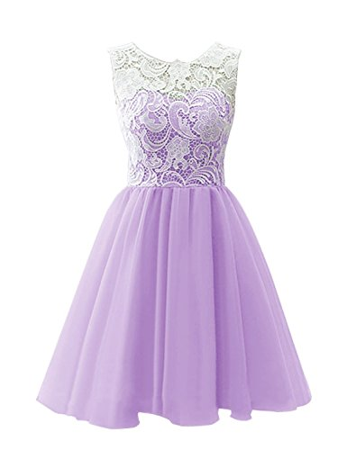 MisDress Lace Tulle Flower Girl Dress Infant Toddler Kids Dresses (Infant-14) (8, Lavender)