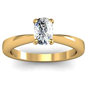 0.55 Ct Cushion Very Good Cut Solitaire Diamond Tapered Engagement Ring 14K
