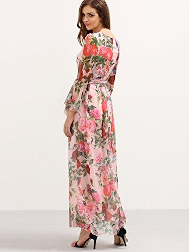 Floerns Women's Long Sleeve Chiffon Rose Print Spring Maxi dress Pink XL