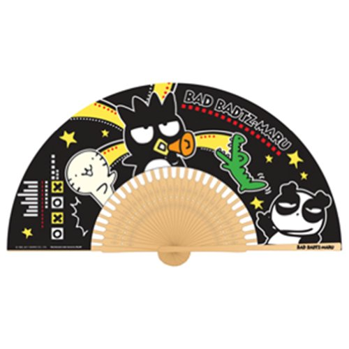 Authentic Sanrio Bad Badtz Maru Folding Paper Fan Hello Kitty Friend