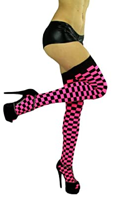 ToBeInStyle Women's Checkered Wide Elastic Band Thigh Hi Stocking