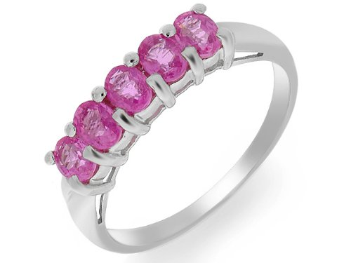 Eternity Ring, 9ct White Gold Pink Sapphire Ring, Claw Set