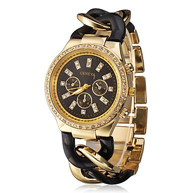 Elegant Women Geneva Brand Diamonds Gold Dial Stainless Steel Chain Analog Wristwatch Ladies Dress Rhinestones Bracelet Watch Christmas Gift Black front-794873