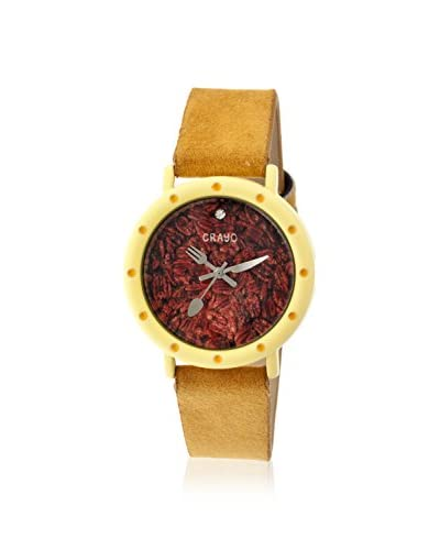 Crayo Women's CR2105 Slice of Time Goldenrod Leather Watch