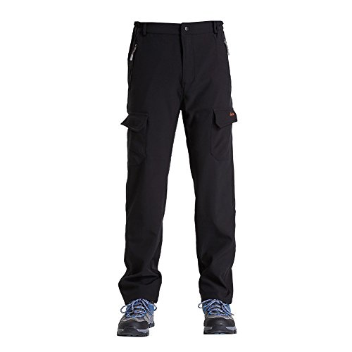 Clothin Mens Winter Pants - Hiking Cargo Sports Pants/ Fleece Lined/ Water-repellent(US XS,Black) (Winter Sports Pants compare prices)