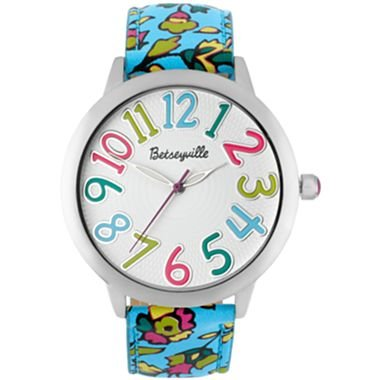 Betsey Johnson Betseyville® Womens Blue Floral Paisley Strap Watch