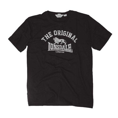 Lonsdale T-Shirt Manica Corta Original, Regular Fit, Nero, XXL