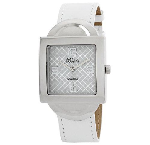 Breda Women's 6131_white White Harper Square Leather Strap Watch