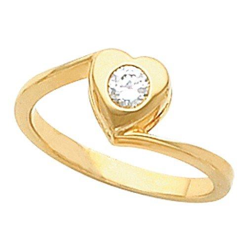 10K Yellow Gold Diamond Heart Ring - 0.15 Ct. - Size 8