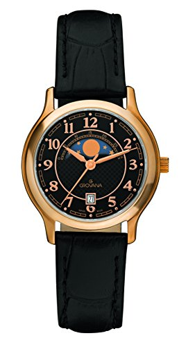 Grovana Unisex Quartz Watch with Black Dial Analogue Display and Black Leather Strap 3026.1567