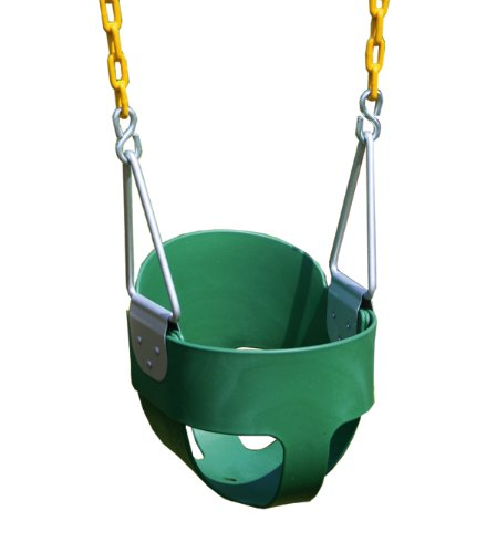 Eastern Jungle Gym High Back Full Bucket Swing With Coated Chain - Green (Toddler Outdoor Playground compare prices)