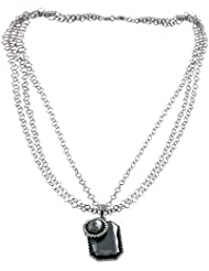 STRIPES Present Silver Multi Layer Chain With Sapphire Pendent / Necklace For Women And Girls