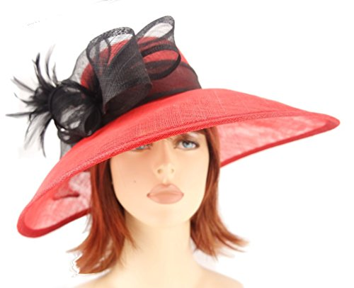 Red and Black Sinamay Asymmetric Shaped Wide Brim Formal Hat with Side Sinamay Bow & Feathers