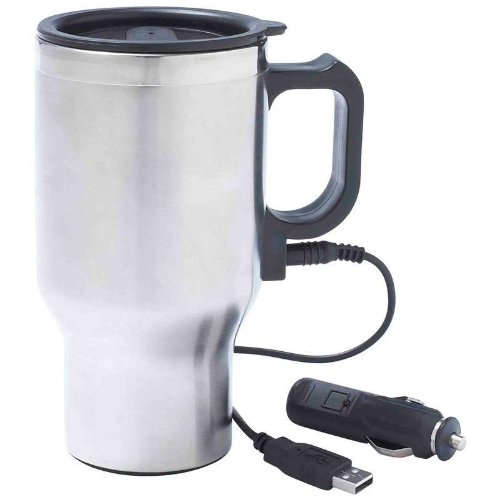 New 12 Volt Stainless Steel Heated Travel Mug Thermos Type Heating Car Cup