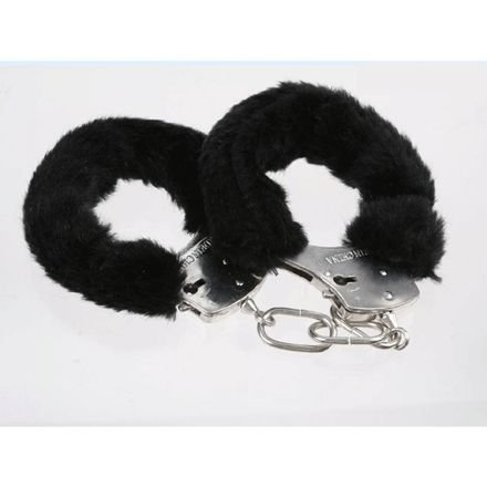 Black Furry Cuffs Working Metal Handcuffs