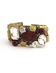 The Jewelbox Designer Free Size Brass Cuff Kada Bangle Bracelet Stones & Wood