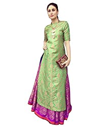 Surat Tex Green & Gold Color Party Wear Embroidered Jacquard Un-Stitched Dress Material-I27DL1526