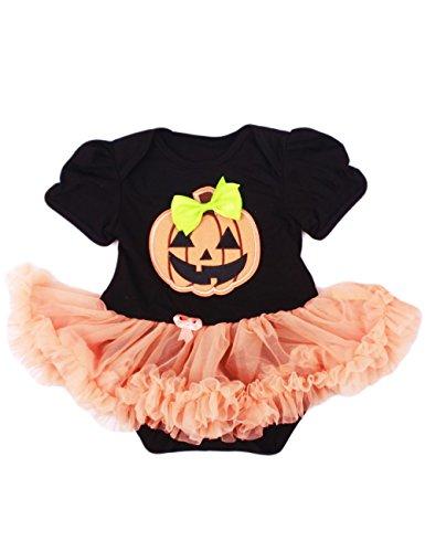 Little Hand Halloween Pagliaccetto Pumpkin Modello Bowknot Neonata Bambina Tutu Abiti Tutine(0-3 Mesi,Nero)