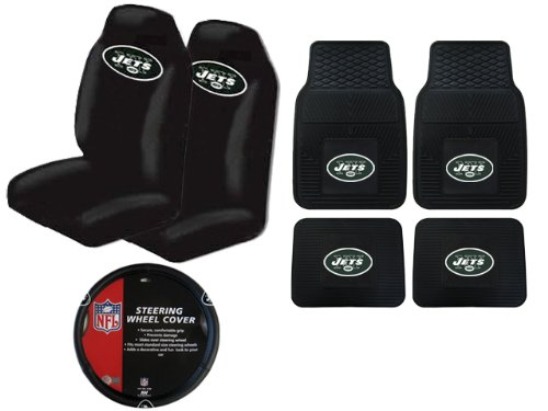 A Set of 4 NFL Universal Fit Front All-Weather Floor Mats and A Set of 2 Universal Fit Seat Covers and 1 Steering Wheel Cover - New York Jets at Amazon.com