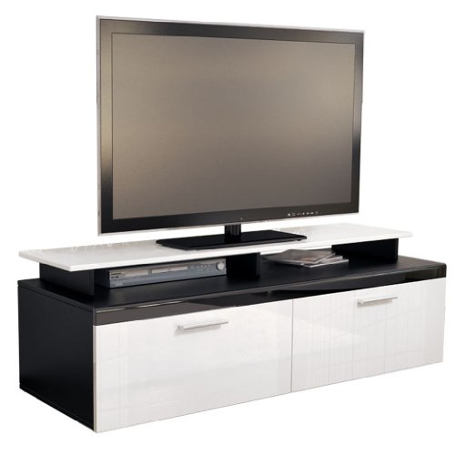 TV Stand Unit Atlanta in Black / White High Gloss with TV Stand Black Friday & Cyber Monday 2014