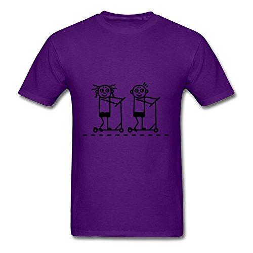Custom Men T-shirt Cotton Kick Scooter / Board - Girl & Boy T-shirt- Xxx-large Purple Type