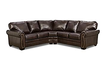 Simmons Upholstery 9222DN-06 Panama Bonded Leather Sectional Sofa - Panama Espresso