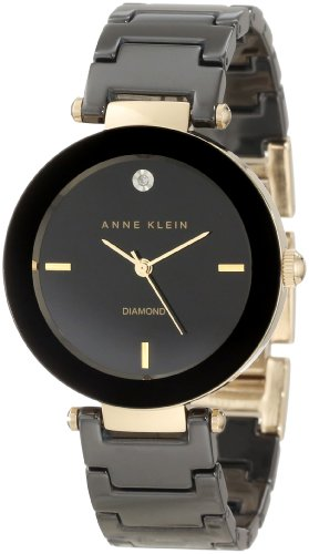 Imagen de Anne Klein Mujer AK/1018BKBK Ceramic Diamond Dial Negro Reloj Pulsera
