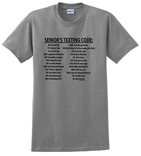 Senior Citizen Texting Code T-Shirt XL Sport Grey