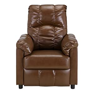 Dorel Asia Slim Faux Leather Recliner Camel - Living Room ...