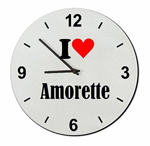 """Regali Esclusivi: Orologi da parete """"I Love Amorette"""", un Grande regalo viene dal Cuore - Ti amo - Orologio vetro - Punte di Natale"""