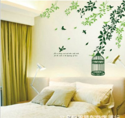 Removable Living Room Television Background Environmental Pvc Wall Stickers Green Vine front-1067425