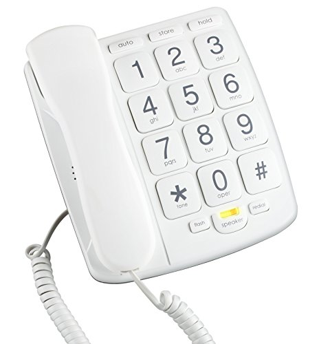 Emerson EM300WH Big Button Corded Phone Designed For Elderly People – Works in Power Outage For Emergencies