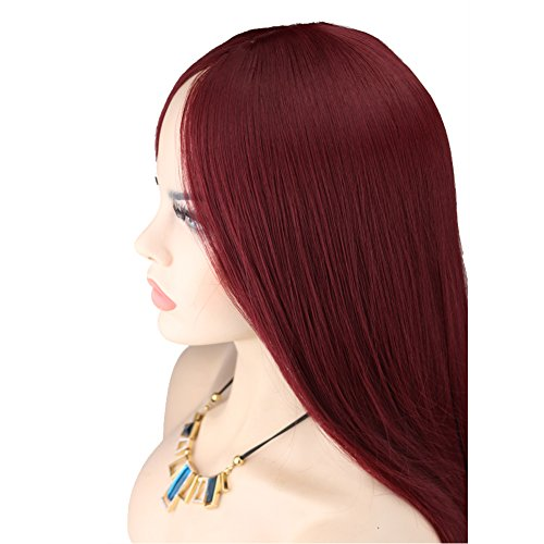 Kalyss Women's Long Straight Wine Red Mid-split Bangs Heat-resistance Kanekalon Full Hair Wig (Dark Red Wig compare prices)