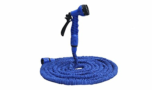 LOLITA Garden Hose Flexible Expandable Magic Hose and 7 pattern Spray Nozzle and Shut off Valve and Universal Water Hose Connectors Expands to 3 Times Original Length (25FT, Blue) (Pro X Hose compare prices)