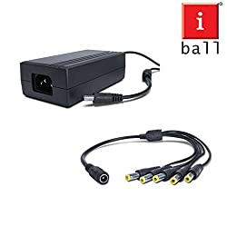 iBall CCTV Power Adapter SMPS (12V - 5A) + Camera Power Splitter Cable Upto 5 Cameras