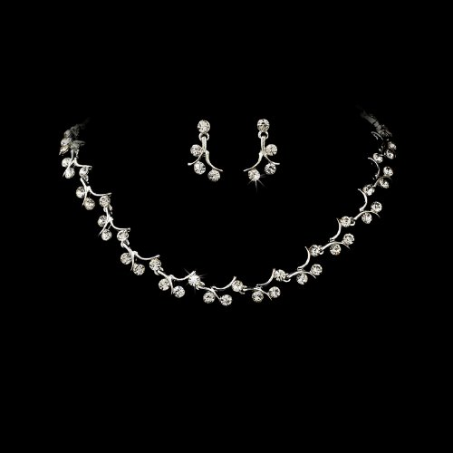 Silver Clear Crystal Rhinestone Bridal Wedding Necklace Earring Set