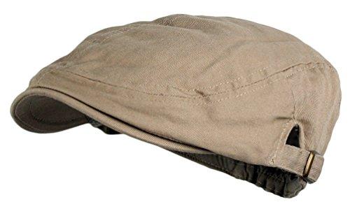 Men's Cotton Flat Cap Ivy Gatsby Newsboy Hunting Hat (Khaki)