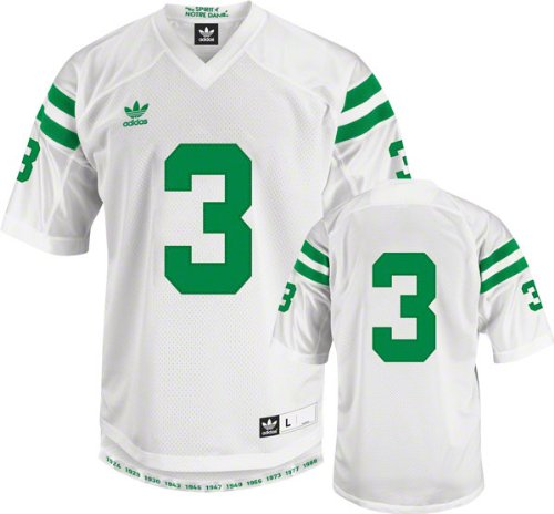 Adidas Notre Dame Fighting Irish Under the Lights Legacy Game White #3 Premier Football Jersey (Small)