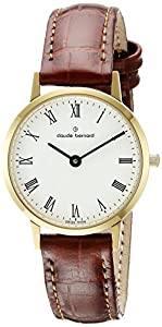Claude Bernard Men's 20201 37J BR Gents Slim Line Analog Display Swiss Quartz Brown Watch