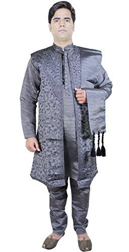 men fashion 4 piece sherwani casual shirt pant stole party wear turquoise