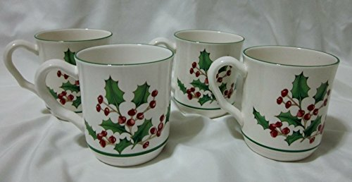 set-of-four-ceramic-christmas-holly-berry-coffee-mugs-cups-white-christmas-made-in-korea