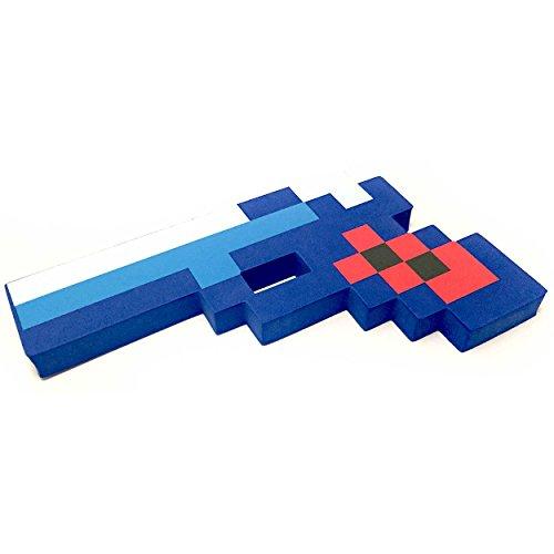 "8 Bit Pixelated Blue Diamond Foam Gun Toy 10"" by EnderToys"