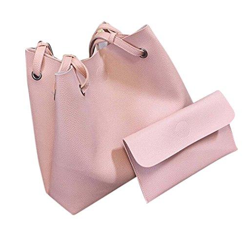 Borsa a tracolla Clode® Pelle di Modo Delle Donne del Litchi Stria Borsa Singola Spalla Borsa + Pochette (Colour : Rosa)