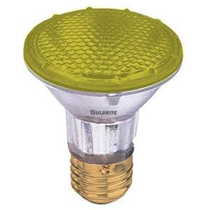 Bulbrite H50PAR20Y 120V 50W PAR20 Halogen Light, Yellow