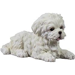 4.5 Inch Maltese Puppy Lying Down Decorative Statue Figurine, White
