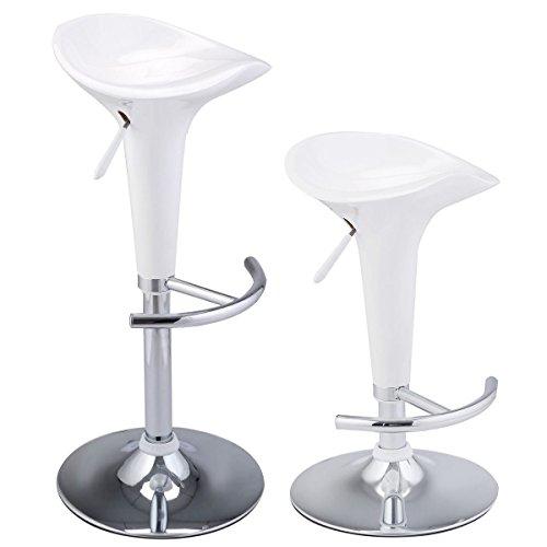 MasterPanel - Set of 2 Modern Bombo Style Swivel Barstools Adjustable Counter White Chair Bar #TP3238