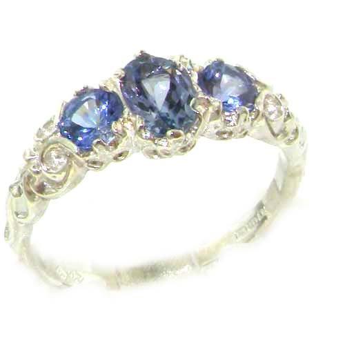 英国製 925 シルバー 天然 タンザナイト レディース 装飾 デザイン アンティークスタイル 3石 トリロジー リング 指輪 サイズ 15 各種サイズあり